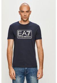 EA7 Emporio Armani - T-shirt. Okazja: na co dzień. Kolor: niebieski. Wzór: nadruk. Styl: casual