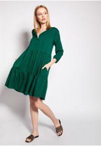 Lanti - Dziewczęca Sukienka z Falbankami - Zielona. Typ kołnierza: kołnierz z falbankami. Kolor: zielony. Materiał: wiskoza