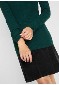 Sweter z golfem, w prążek bonprix niebieskozielony. Typ kołnierza: golf. Kolor: niebieski. Wzór: prążki