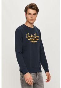 Niebieska bluza nierozpinana Jack & Jones na co dzień, z nadrukiem, casualowa, bez kaptura