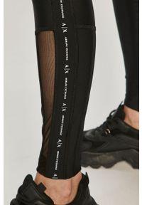 Czarne legginsy Armani Exchange z nadrukiem, z podwyższonym stanem