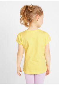 Shirt dziewczęcy ( 2 szt.) bonprix niebieski mentolowy + jasna limonka z nadrukiem. Kolor: zielony. Wzór: nadruk