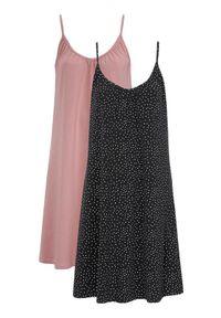 Cellbes Koszula nocna bez rękawów 2 Pack złamany róż Czarny w kropki female różowy/czarny/ze wzorem 62/64. Kolor: wielokolorowy, różowy, czarny. Materiał: bawełna. Długość: do kolan. Wzór: kropki