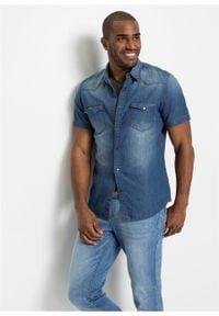 "Koszula dżinsowa, krótki rękaw, Slim Fit bonprix jasnoniebieski ""bleached"". Kolor: niebieski. Długość rękawa: krótki rękaw. Długość: krótkie"