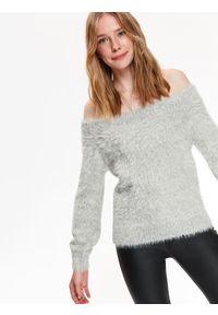 TOP SECRET - Sweter długi rękaw damski dopasowany. Okazja: na co dzień. Kolor: szary. Materiał: dzianina. Długość rękawa: długi rękaw. Długość: długie. Sezon: jesień, zima. Styl: casual