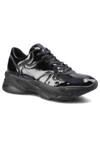 CheBello - Sneakersy CHEBELLO 2577_-240-000-PSK-S124 Czarny. Okazja: na co dzień. Zapięcie: sznurówki. Kolor: czarny. Materiał: jeans, skóra, lakier, materiał. Obcas: na obcasie. Styl: elegancki, casual. Wysokość obcasa: średni