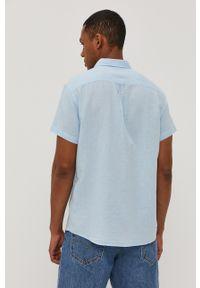 Wrangler - Koszula. Okazja: na co dzień. Kolor: niebieski. Materiał: tkanina. Długość rękawa: krótki rękaw. Długość: krótkie. Wzór: gładki. Styl: casual