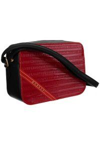 DAVID JONES - Listonoszka damska czerwono-czarna Monnari BAG1740-M05. Kolor: czarny, wielokolorowy, czerwony. Wzór: aplikacja. Materiał: skórzane