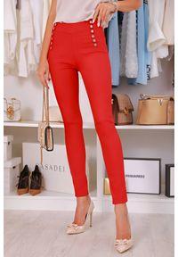 Czerwone spodnie IVET z podwyższonym stanem, biznesowe