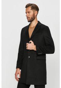 Czarny płaszcz Tommy Hilfiger Tailored casualowy, bez kaptura, na co dzień