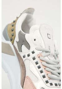 Różowe buty sportowe D.A.T.E. na sznurówki, na średnim obcasie, z cholewką, na obcasie