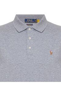 Ralph Lauren - RALPH LAUREN - Szara koszulka polo Custom Fit. Typ kołnierza: polo. Kolor: szary. Materiał: bawełna, prążkowany. Wzór: kolorowy, haft