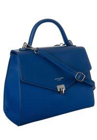 Niebieska torebka DAVID JONES klasyczna, gładkie, skórzana