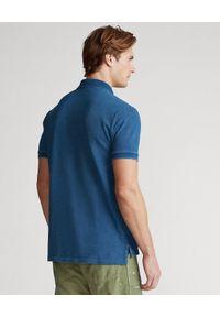 Ralph Lauren - RALPH LAUREN - Granatowa koszulka polo Mesh. Typ kołnierza: polo. Kolor: niebieski. Materiał: mesh. Długość: długie. Wzór: ze splotem, haft