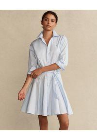 Ralph Lauren - RALPH LAUREN - Niebieska sukienka koszulowa. Typ kołnierza: polo, kołnierzyk klasyczny. Kolor: niebieski. Materiał: bawełna, tkanina. Długość rękawa: długi rękaw. Typ sukienki: koszulowe. Styl: klasyczny