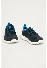 Niebieskie buty sportowe Crocs z okrągłym noskiem, z cholewką, na sznurówki