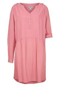 Różowa sukienka bonprix koszulowa, z długim rękawem
