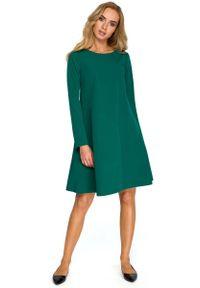 MOE - Zielona Wizytowa Trapezowa Sukienka z Szyfonową Wstawką. Kolor: zielony. Materiał: szyfon. Typ sukienki: trapezowe. Styl: wizytowy