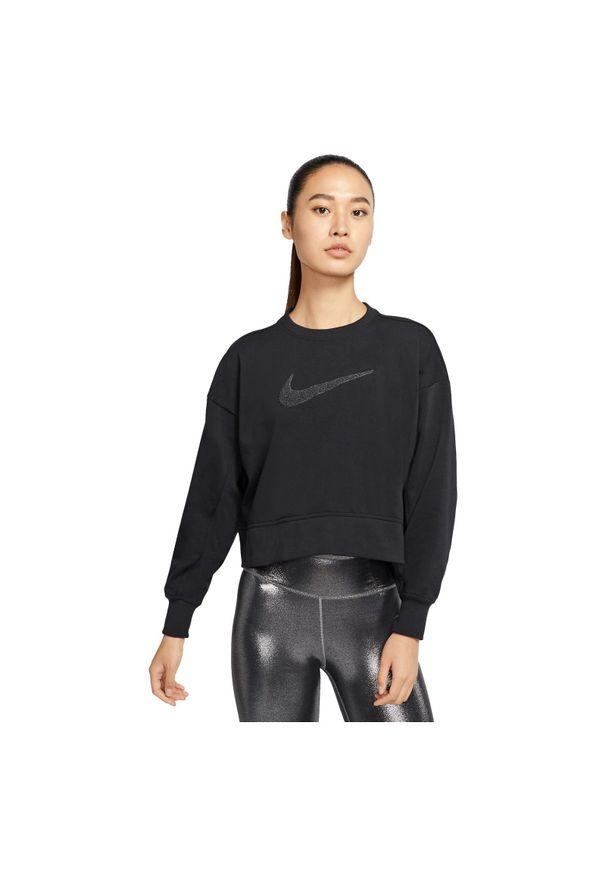Bluza treningowa damska Nike Get Fit CU5506. Materiał: dresówka, poliester, materiał, dzianina, bawełna. Technologia: Dri-Fit (Nike). Wzór: haft. Sport: fitness