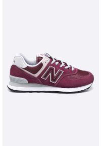 Brązowe sneakersy New Balance na sznurówki, z cholewką, New Balance 574, z okrągłym noskiem