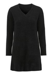 Czarna tunika Cellbes elegancka, z dekoltem w serek