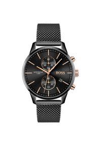 Czarny zegarek HUGO BOSS analogowy, biznesowy