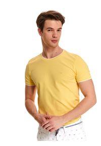TOP SECRET - T-shirt z dzianiny strukturalnej. Kolor: żółty. Materiał: dzianina. Wzór: gładki. Sezon: lato
