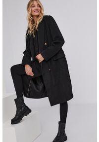 Answear Lab - Płaszcz wełniany. Kolor: czarny. Materiał: wełna. Wzór: gładki. Styl: wakacyjny