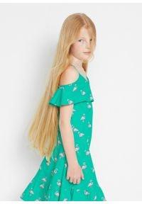 Sukienka dziewczęca z dżerseju bonprix niebieski mentolowy wzorzysty. Kolor: zielony. Materiał: jersey #4