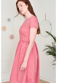 Marie Zélie - Sukienka Melania czerwona oxford 44. Kolor: czerwony. Materiał: skóra, bawełna, materiał. Długość rękawa: krótki rękaw. Sezon: lato