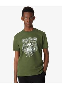 Kenzo - KENZO - Zielony t-shirt z tygrysem. Okazja: na co dzień. Kolor: zielony. Materiał: bawełna. Styl: klasyczny, elegancki, casual