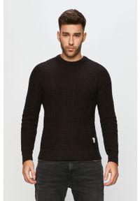 Czarny sweter PRODUKT by Jack & Jones długi, z okrągłym kołnierzem, na co dzień, casualowy