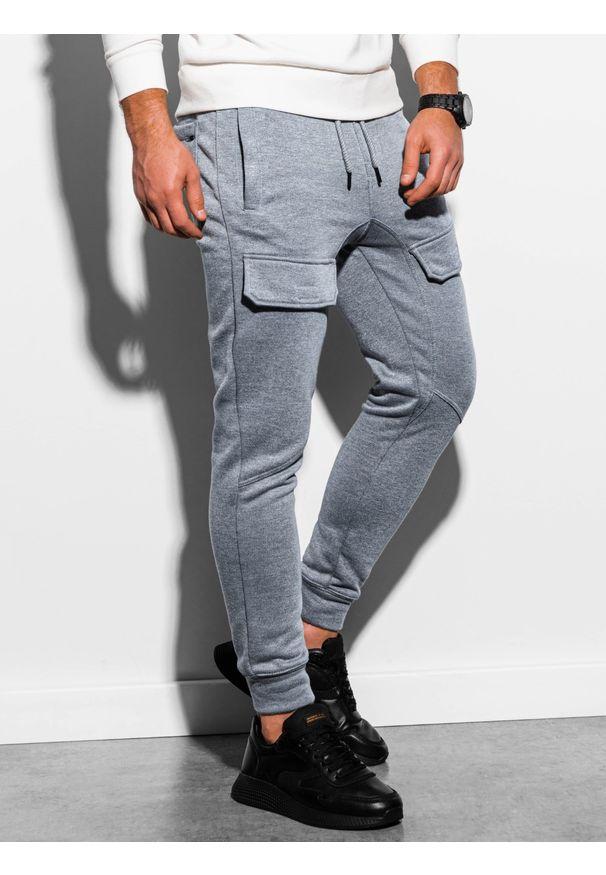 Ombre Clothing - Spodnie męskie dresowe joggery P904 - szary melanż - XXL. Kolor: szary. Materiał: dresówka. Wzór: melanż