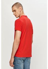 Armani Exchange - T-shirt. Okazja: na co dzień. Kolor: czerwony. Materiał: dzianina. Wzór: nadruk. Styl: casual