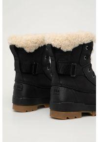 Czarne śniegowce sorel z cholewką, z okrągłym noskiem