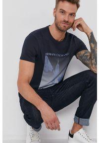Armani Exchange - T-shirt bawełniany. Okazja: na co dzień. Kolor: niebieski. Materiał: bawełna. Wzór: nadruk. Styl: casual