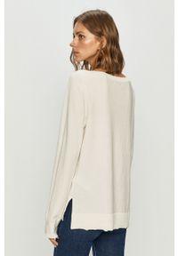 Biały sweter TOMMY HILFIGER z długim rękawem, casualowy, długi, z okrągłym kołnierzem