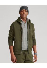 Ralph Lauren - RALPH LAUREN - Rozpinana bluza z kapturem khaki. Typ kołnierza: kaptur. Kolor: zielony. Materiał: materiał. Wzór: haft