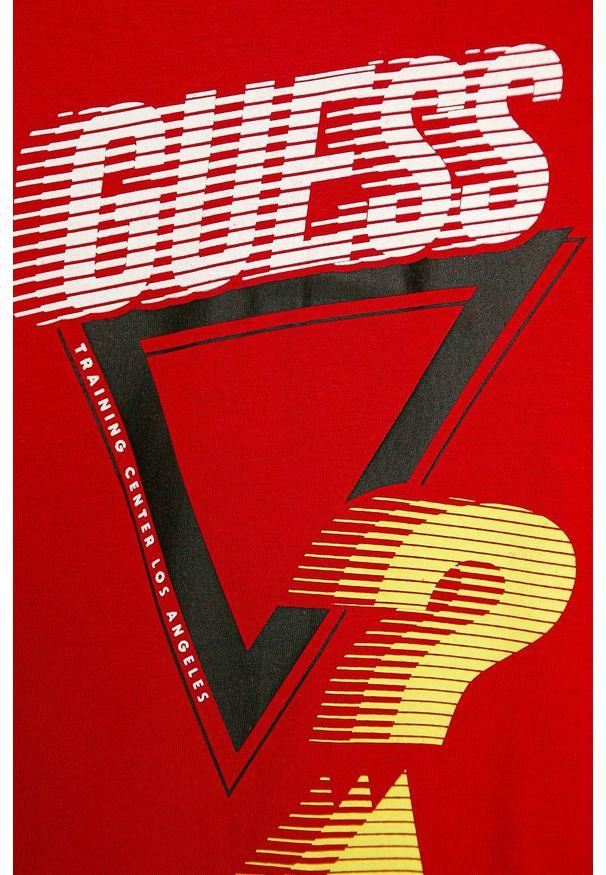 Czerwona koszulka z długim rękawem Guess Jeans z nadrukiem, casualowa, na co dzień, z okrągłym kołnierzem