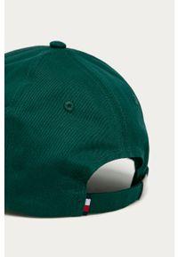 Brązowa czapka z daszkiem TOMMY HILFIGER z aplikacjami