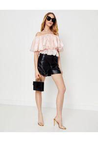 ALEXANDRE VAUTHIER - Jedwabna bluzka z falbaną. Kolor: różowy, wielokolorowy, fioletowy. Materiał: jedwab