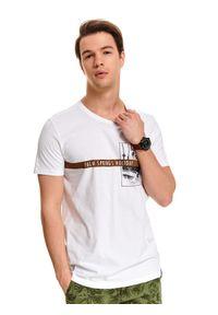 Biały t-shirt TOP SECRET na co dzień, krótki, klasyczny, z krótkim rękawem