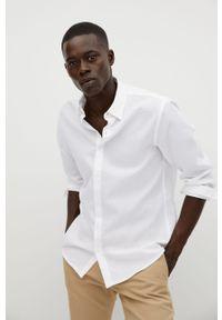 Biała koszula Mango Man z klasycznym kołnierzykiem, długa, na co dzień, z długim rękawem