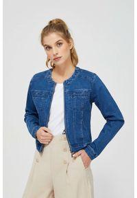 MOODO - Kurtka jeansowa. Typ kołnierza: bez kaptura. Materiał: jeans. Długość rękawa: długi rękaw. Długość: długie. Wzór: gładki