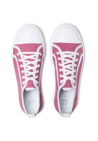 Nessi - Tenisówki NESSI - 21021 Róż. Kolor: różowy. Materiał: skóra, materiał. Obcas: na płaskiej podeszwie. Styl: elegancki, sportowy #5