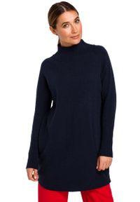 MOE - Sweter-Tunika z Półgolfem - Granatowy. Kolor: niebieski. Materiał: poliester, wełna, akryl