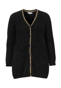 Czarny sweter Zhenzi klasyczny, z kontrastowym kołnierzykiem