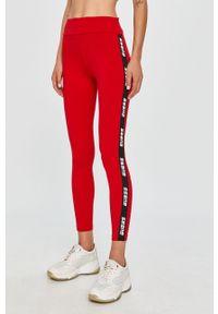 Czerwone legginsy Guess Jeans z aplikacjami, z podwyższonym stanem
