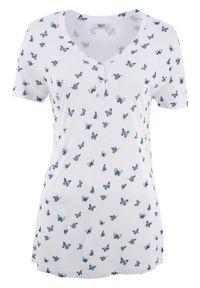 Biała bluzka bonprix z krótkim rękawem, krótka, z nadrukiem