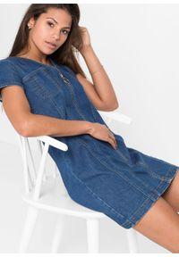 Sukienka dżinsowa z zamkiem, z poliestru z recyklingu bonprix niebieski denim. Kolor: niebieski. Materiał: denim, poliester